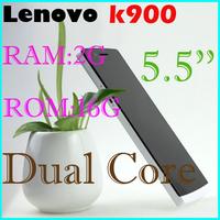 Original Lenovo K900 phone Russian Menu phone duad core 2GHZ 16GB /32GBIntel z2580 CPU 5.5 inch 1080P IPS Screen