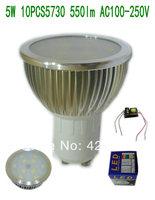 10pcs/lot GU10 5W 10PCS 5730 550lm LED Spotlight  Silver Aluminum AC 100-250V