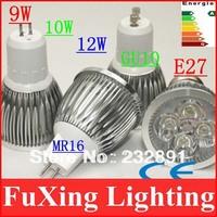 10pcs/lot LED spotlight lamp 9W 10W 12W light 85-265V 12V Cree,E14 E26 E27 MR16 GU10 GU5.3, led Spot light free shipping