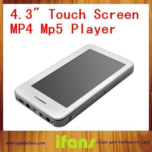 """8GB 4.3""""TFT Touch Screen E-Book Reader Digital MP5 Media Player w/E-dictionary+Voice Recorder + TV-OUT white/Black Free shipping(China (Mainland))"""