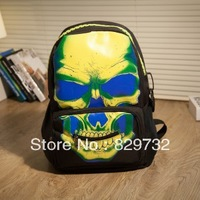 Free shipping Skull personalized print backpack street bag students backpack