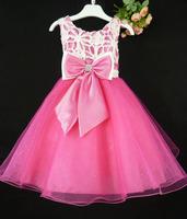13080307-BD Girl Party Dress 3-8 Years Kid Sleeveless Bowknots Lace Hot Pink Ball Dress Free Shipping
