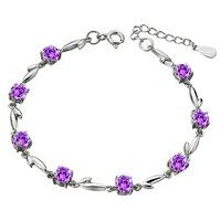 Kastm Brand Wholesale Pure 925 Sterling Silver heart amethyst crystal Bracelet Platinum   fashion bracelet DD016