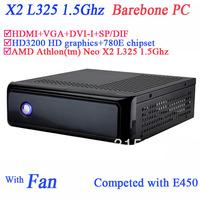 Barebone industrial home theater with AMD Athlon tm Neo X2 L325 1.5Ghz HD3200 graphic with 780E secc chassis HDMI DVI-I