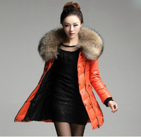 genuine leather jacket down coat women's sheepskin leather coat with large raccoon fur collar big size  Free sipping EMS TF0182