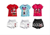 2013 New Arrival Baby Girls Suit 2 Pieces Set Double Hello kitty Short Sleeves T- shirt Top + Short Pants