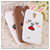 New Arrival For Samsung Galaxy S4 i9500 silicone case cover, Soft Silicone Cute Cartoon Bear Rabbit LINE DOLL case for galaxy s4