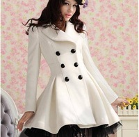 S-XXL!! 2013 AUTUMN-Winter Women&Ladies High street double breasted Jacket Coat/Long sleeve,Lace Bottom,casual down Trench coat