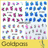 100 X NEW Water Transfer Nail Sticker Decal Flower Designs Stickers Nail Art Decoration