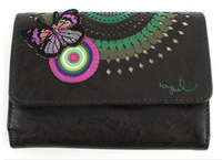 2013 New DESIGUAL PU leather brown butterfly embroidery thread empty