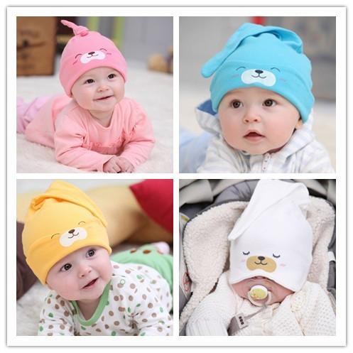 Baby Hat Toddlers Boys Girls Caps Newborn Bear Sleep Hats Spring Autumn Baby Cotton Cartoon Animal Cap Free Shipping Wholesale(China (Mainland))