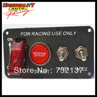 Universal Carbon Fiber Look Racing Ignition Switch Panel Red Indication
