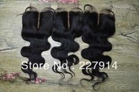 "Cheap Virgin Brazilian Wavy human Hair 10-20"" Body Wave 3.5x4"" Middle Part Lace top Closure piece Bleached Knots Free shipping"