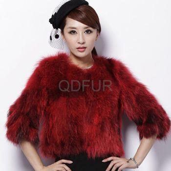 Women's Natural Raccoon Fur Coat Jacket Half Sleeve Female Winter Slim short jackets Outerwear QD27983