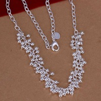 Free Shipping!Wholesale 925 Silver Necklace & Pendant,925 Silver Fashion Jewelry,Gloss Beads Necklace SMTN058