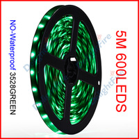 ( 60 reel/lot ) 5M/Reel 12V 3528 600 LEDs 120 LEDs/M Green Color SMD No-Waterproof Flexible LED Strip Lights Wholesale