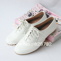 Free shipping 2014 women's shoes vintage casual lacing shoes genuine leather flat heel round toe single shoes