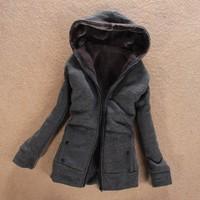 JSM19 2014 Autumn Women'S Hoodies Mink Fur Coat Zipper Winter Autumn Thick Wool Outerwear Lady Casual Hoddy Winter Jacket Women