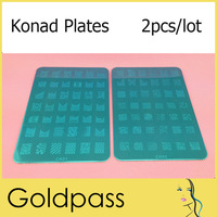Konad Stamping Plates Large Stamp Image Plate French & Full Nail Art Stencil Print Metal Template 42 BIG Designs 2pcs/lot