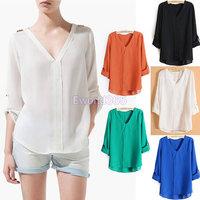 Fashion Womens Chiffon V Neck Metal Rivet Shoulder Loose T-Shirt Blouse Tops Free Shipping