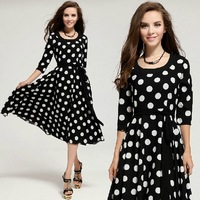 Free shipping,lady casual big sweep dot print short dress 9015#,high quality fashion dress, size S~L,100% real picture!!