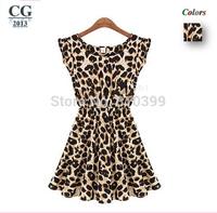 2014 Hot Selling Women's Short Sleeve Leopard Printing Chiffon Mini Summer Casual Dress Fashion Sundress S~XXL Plus Size#CGD013