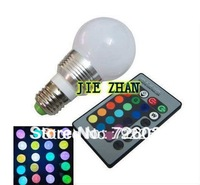 10W E27 RGB LED 16 Changeable Colors Light Lamp Bulb 85-265V with Remote Control free shpping