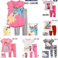 Free Shipping 6sets/lot girls clothing sets, Princess short sleeve t shirts & pants ,children Cartoon pyjamas baby pajamas XC288