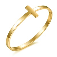 HOT!! Vintage Yellow Gold Plated Stainless Steel Bangles For Lady Woman Girls Charm Bangles Bracelet Cuffs 643