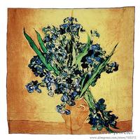 "100% Silk Scarf Luxurious Charmeuse Satin Silk  Women's Scarfs Van Gogh's Painting ""Irises"" 1890 Square 90 Gold 10Pcs Wholesales"