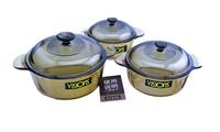 FREE SHIPPING 3pcs Pot transparent glass soup pot milk pot piece set vs-2.25L vs-1.0L vs-0.8L