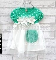 retail 2013 Kids child clothing girls short-sleeve rose flower polka dot one-piece dress tutu dress plus sizes for 1-2 year