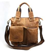 2014 New Fashion Vintage Genuine Leather Men Shoulder Bags Briefcase Brand Wholesale Men Bags, Men's Shoulder Bag / Handbags
