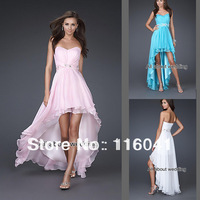 2014 Free Shipping Strapless Chiffon Beaded Sash Front Short Back long Evening dresses