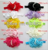 NEW 10colors Baby Girls chiffon Headband for Photography props rose pearl flower Headbands infant hair accessories 2pcs/lot
