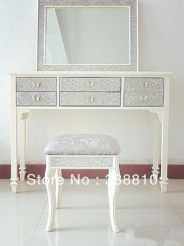 Korean simple fashion wood mirror dressing mirror vanity mirror parlor