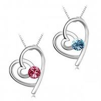 Free Shipping New 2014 Wholesale  Austria crystal Cute Heart Pendant  Necklace Silver Plated Fashion Style For Women Girls