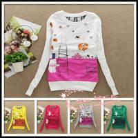 2014 Brand new women's casual hoodie/sweatshirt,ladies autum/winter cute hoodies,women tops pullovers,(Thin),in stock,1pcs/lot