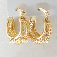 """FREE SHIPPING/MIN ORDER10$/NEW UNIQUE 18K YELLOW GOLD GP OVERLAY FILLED WITH BRASS HOOP 0.94"""" EARRING/GREAT GIFT/"""