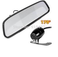 "Mini Waterproof CCD Reverse Backup Parking Camera 170 degree Wide Angle + 4.3"" TFT LCD Car Rear View Mirror Monitor Kit"
