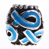 Free shipping!!!Zinc Alloy European Beads,2013, Drum, without troll & enamel, water blue, nickel, lead & cadmium free, 11x11mm