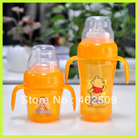 Wide-mouth PP baby feeding bottle with handle and straw BPA Free 2pcs/Lot
