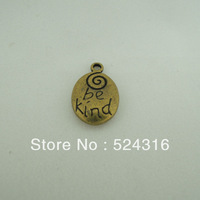 Free Shipping Wholesale DIY Antiqued Bronze Vintage Alloy Lovely be kind Words Oval Pendant Charms Accessories 20*13mm 30pcs