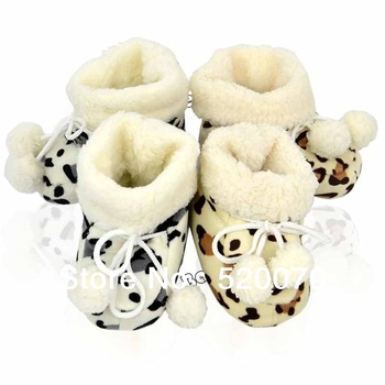 New Winter Baby Leopard Boots Booties/Infant Unisex Soft Sole Warm Velvet Shoes/First Walker 0-6 Months Black/Coffee 17864