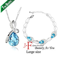 2013 New Hot selling Fashion Crystal sets Jewelry set Alloy necklace bracelet  White K Silver plated -My heart Free shipping