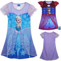 LittleSpring Hot Frozen Dress Elsa & Anna Summer Dress For Girl 2014 New Princess Dresses Brand Girls Dress Children Clothing
