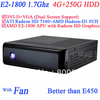 Wholesale mini PC with AMD E2-1800 APU 1.7Ghz 4G RAM 250G HDD ATI Radeon HD 7340 GPU AMD Hudson-D1 FCH Chipset Windows or Linux