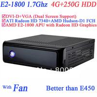 Wholesale mini PC with AMD E2-1800 APU 1.7Ghz 4G RAM 250G HDD ATI Radeon HD 7340 GPU AMD Hudson-D1 FCH Chipset Windows or Linux