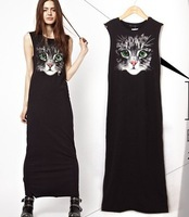 2014 Summer Fashion Cat Face Print Cotton casual Sleeveless Tank Dress Sundress For Women 1 piece free shipping