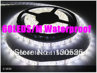 Free shipping 5M 5630 60LED/M 300LED Whtie Waterproof DC12V Flexible LED light strip SMD 5630 led strip
